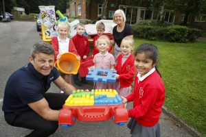 Simon Little from Powerday visiting Victor Seymour School for Plastic Recycling Project